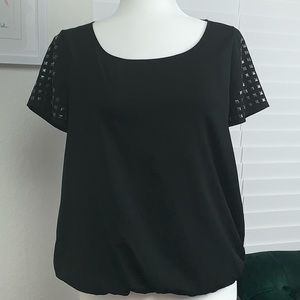A.N.A. Petite Black Top with embellished sleeves